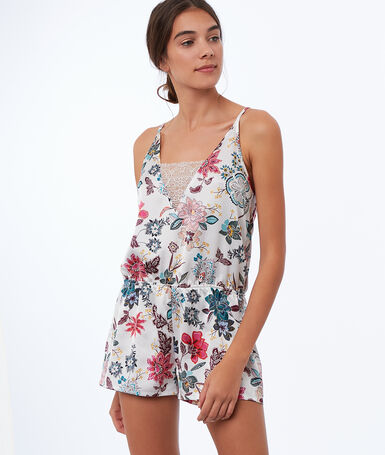 Satin floral print playsuit white.