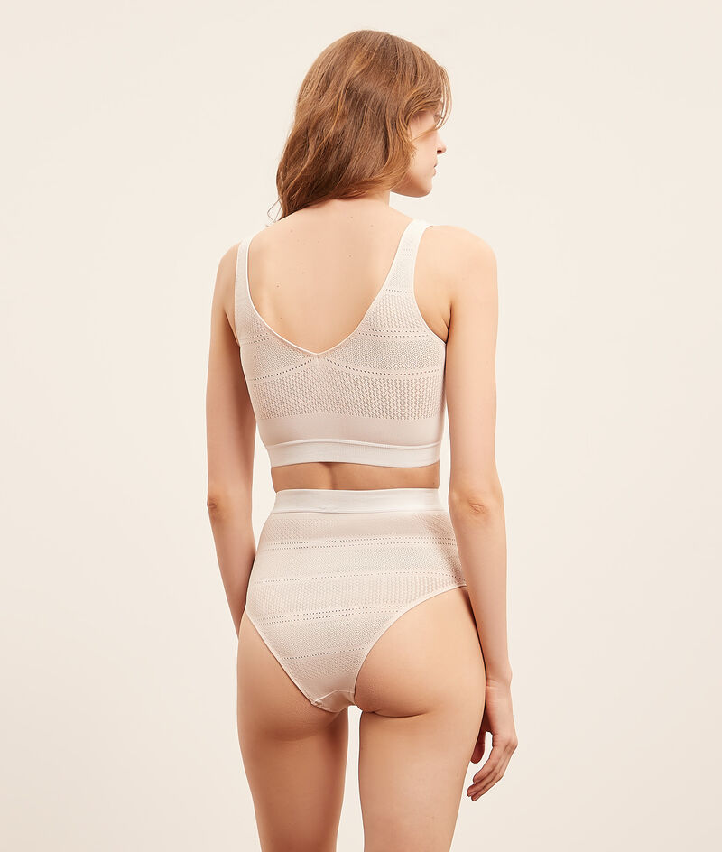 Stretchy mesh high waist brief;${refinementColor}