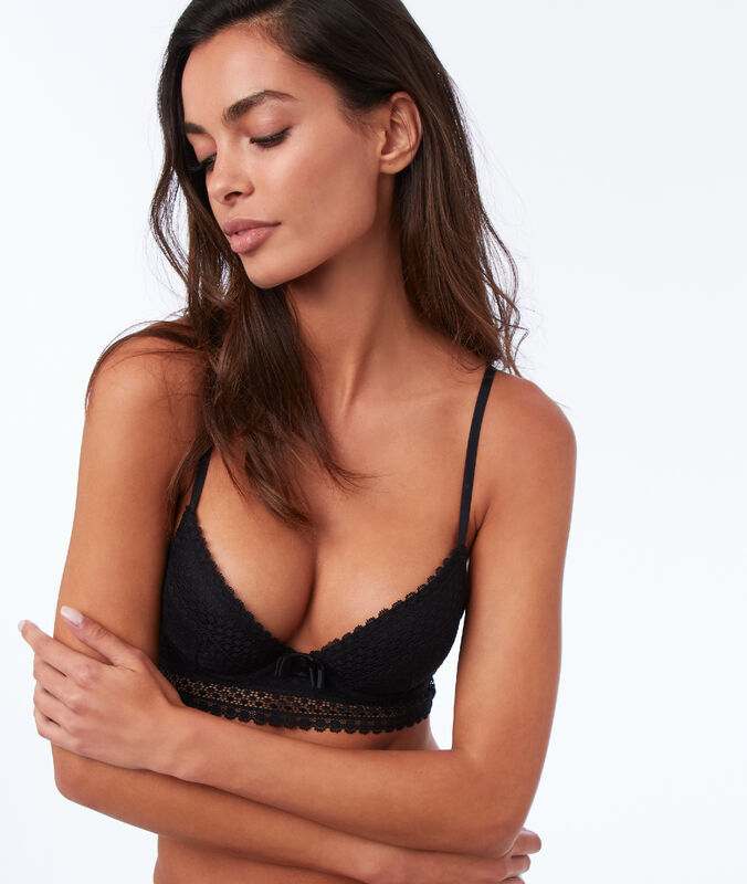 Bra no. 2 - lace plunging push-up bra and small basque black.