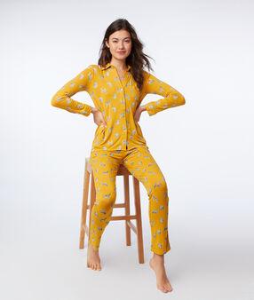Chemise de pyjama imprimé zèbres ocre.