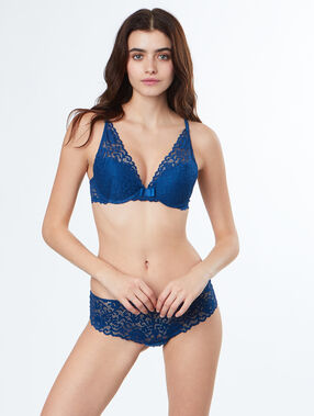 Lace triangle bra, push-up blue.
