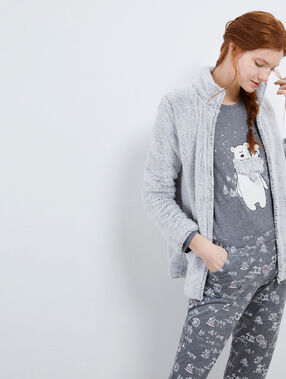 Three-piece teddy print pyjama set gris.