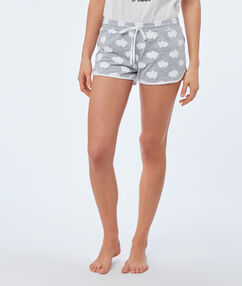 Cloud print shorts gray.