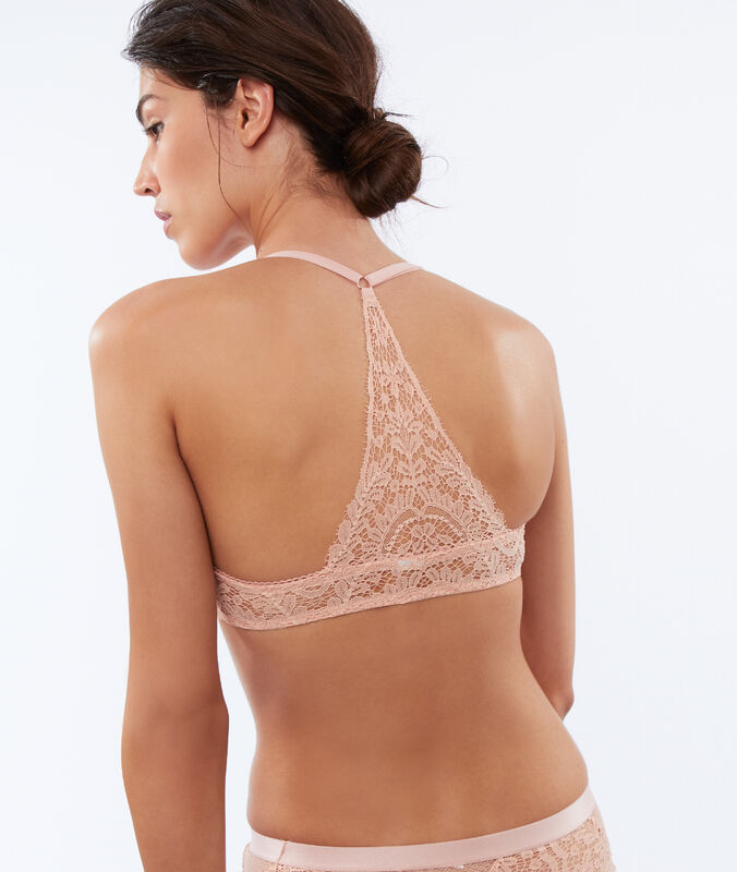Bra no. 2 - lace plunging push-up, structured racer back powder pink.