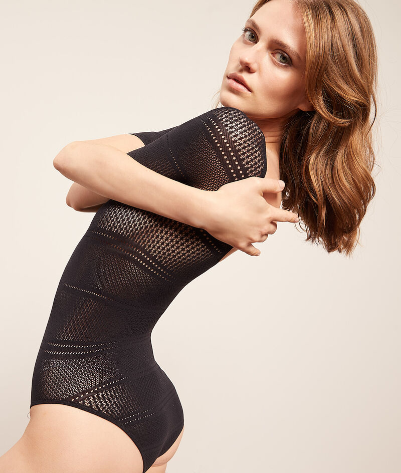 Stretchy mesh bodysuit;${refinementColor}