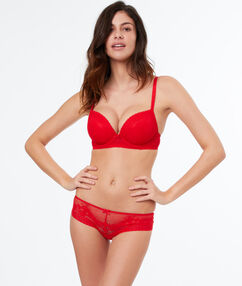 Lace demi-cup padded bra red.