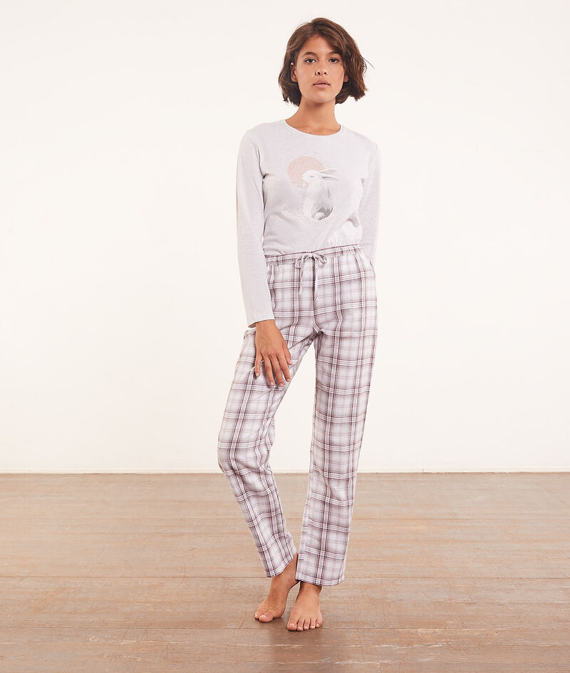 3-piece pyjama set, flannelette jacket ;${refinementColor}
