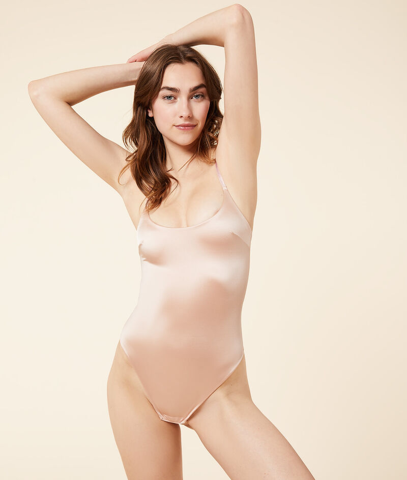 Ribbed satin bodysuit with thin straps;${refinementColor}