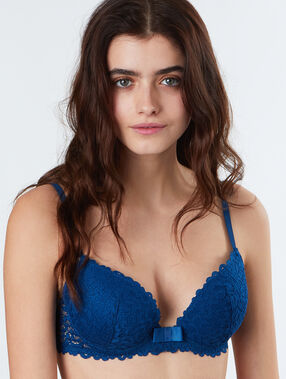Lace demi-cup padded bra blue.