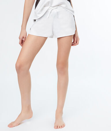 Contrasting lace strip satin shorts white.