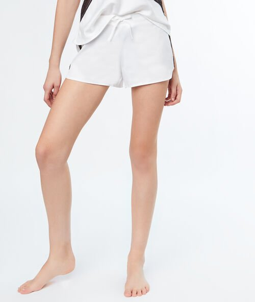 Contrasting lace strip satin shorts