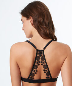 Triangle bra with flowery lace, racer back black.
