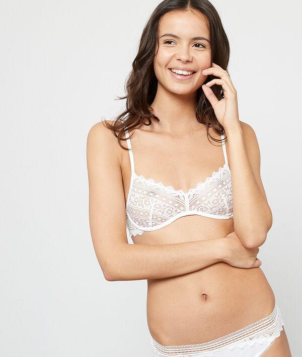 Graphic lace triangle bra;${refinementColor}