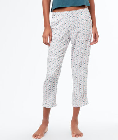 Printed pyjamapants ecru.