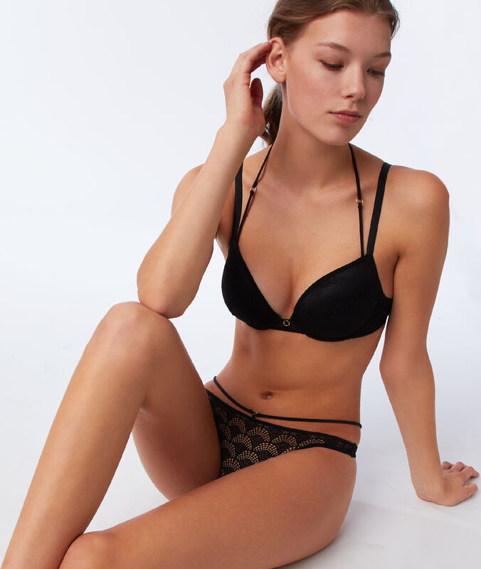 Bra no. 5 - classic padded lace bra with ties black.