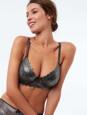 Bra no. 4 - lace padded bra silver.