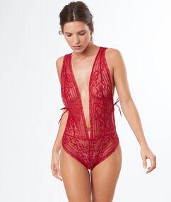 V-back lace bodysuit red.
