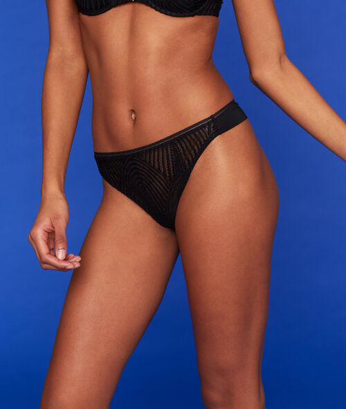 Lace and tulle tanga briefs