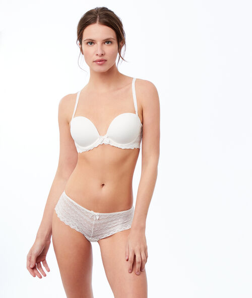 Microfiber and lace bandeau bra, removable straps
