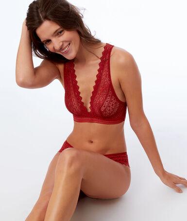 Triangle bra, open back red brick.