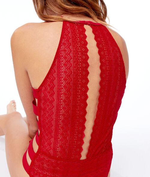 Lace bodysuit, sportswear stripes