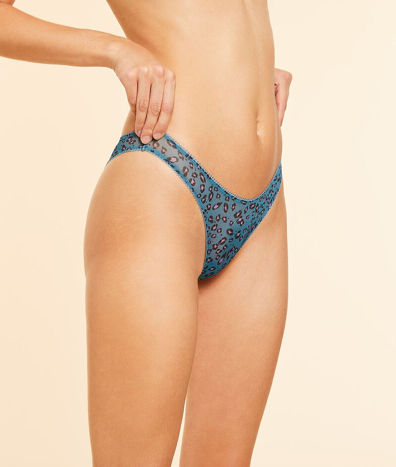 V-shaped tanga in printed tulle;${refinementColor}