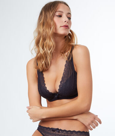 Bra no. 6 - padded triangle bra in lace, d cup anthracite.