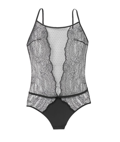 Tulle and lace bodysuit, bare back