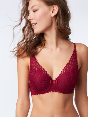 Bra no. 6 - lace padded triangle bra plum.