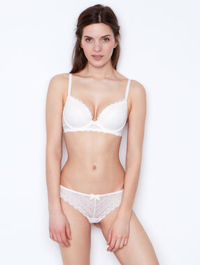 Lace thong off white.