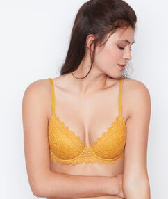 Padded demi cup bra yellow.