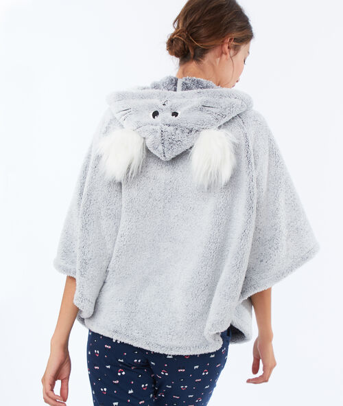 Faux fur poncho with pompoms