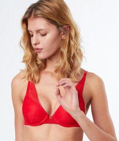 Bra no. 6 - slightly padded lace triangle bra red.