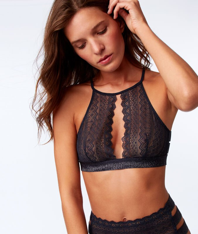 Lace bra, 3 bands anthracite.