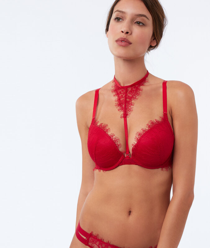 Bra no. 5 - padded bra with removable choker red.