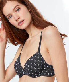 Light padded printed bra charcoal.
