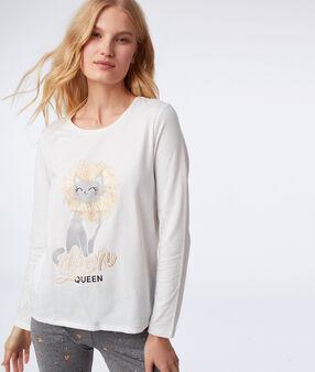 Thre-piece cat print pyjama gris clair.