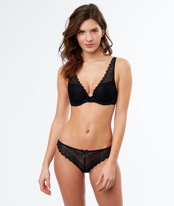 Lace triangle push up bra;${refinementColor}