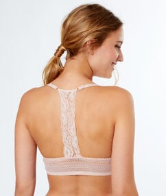 Bra no. 2 - plunging push-up, racer back powder pink.