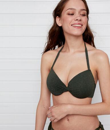 Iridescent padded bikini top khaki.