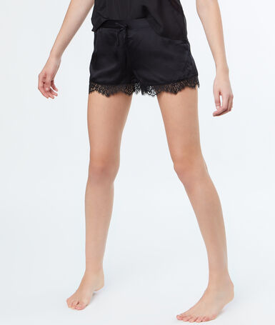 Satin lace shorts black.