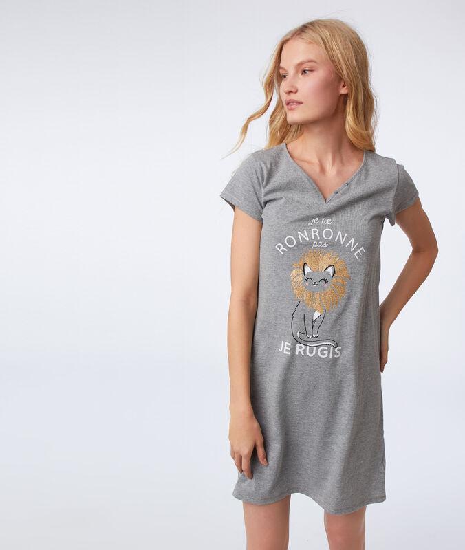 Chemise de nuit à message anthracite.