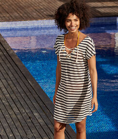 Mariniere style beach dress off-white.