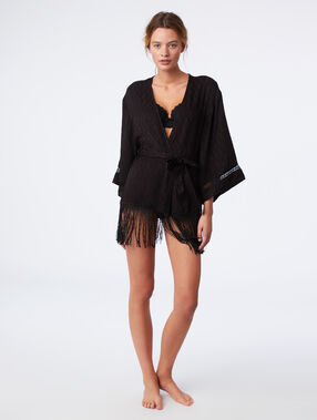Jacquard fringed  kimono black.