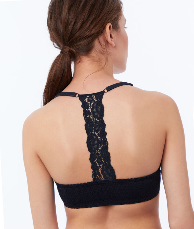 Bra no. 5 - classic padded lace bra with racer back navy.