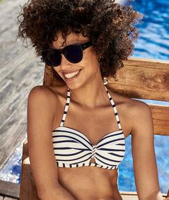 Strapless bikini top off-white/navy.