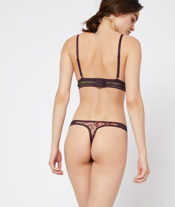 Lace and tulle thong