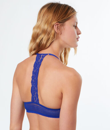 Bra no. 2 - plunging push-up, racer back emerald bleu.
