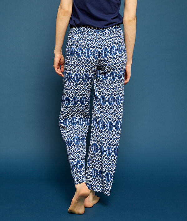 Ethnic print flared trousers;${refinementColor}