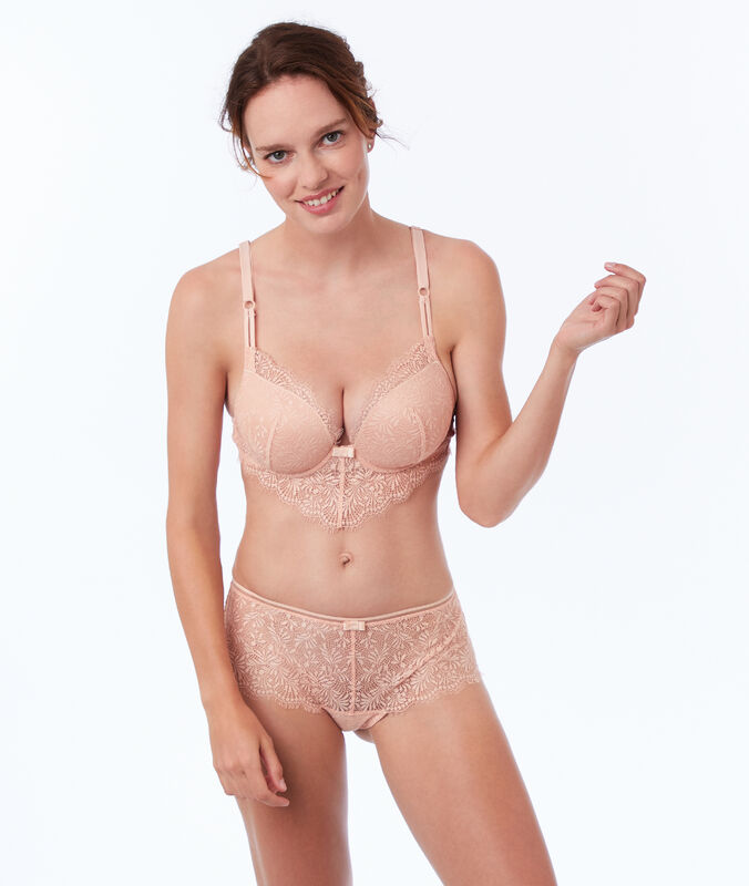 Bra no. 5 - classic padded lace bra with v-shape basque natural.